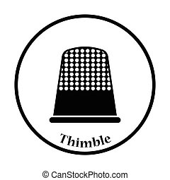Tailor thimble icon Thin circle design Vector illustration...