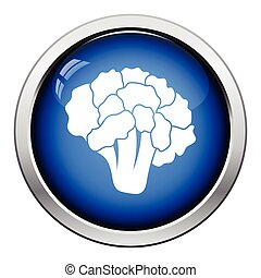 Cauliflower icon Glossy button design Vector illustration