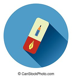 Eraser icon Flat color design Vector illustration