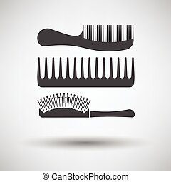Hairbrush icon on gray background, round shadow. Vector...