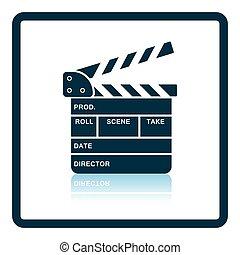 Movie clap board icon Shadow reflection design Vector...