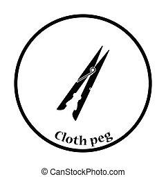 Cloth peg icon. Thin circle design. Vector illustration.