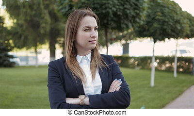 Young Business Woman Waiting And Looking At Her Watch,...