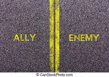 Tarmac, con, el, palabras, Aliado, y, enemigo