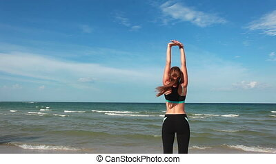 Woman doing exercises - Beauty sporty woman doing exercises...