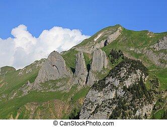 Mt Bogartenfirst, mountain of the Alpstein Range - Mountain...