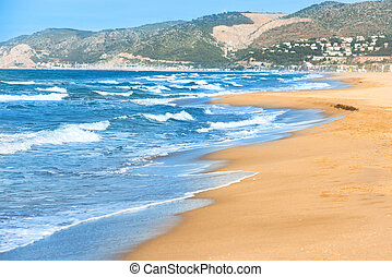 Long beach with sand - Long beach in Barcelona with sand and...