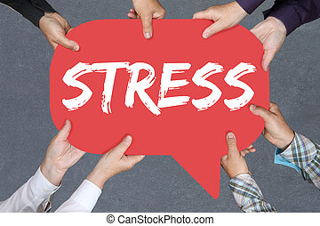 Group of people holding stress stressed business concept...