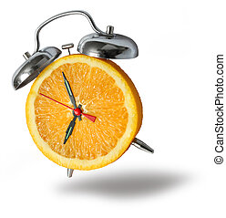 Orange alarm clock ringing