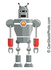 colorful grey robot with two antennas icon