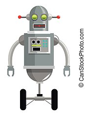 colorful grey robot with two antennas and two wheels icon