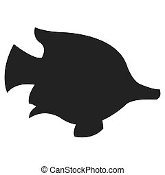 tropical fish silhouette icon - simple flat design tropical...