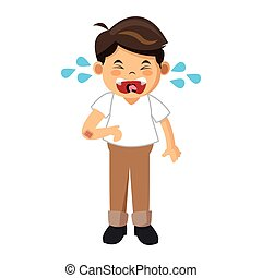 crying boy icon - simple flat design crying boy icon vector...