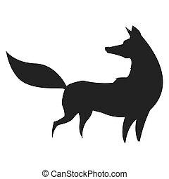 fox silhouette icon - simple flat design fox silhouette icon...