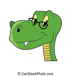 cute dinosaur with glasses icon - simple flat design cute...