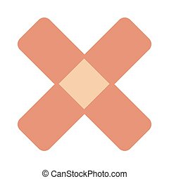 crossed bandaid icon - simple flat design crossed bandaid...