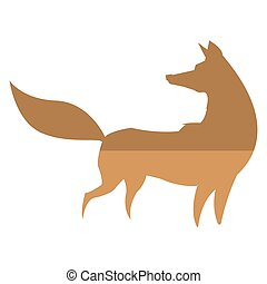 fox silhouette icon - simple flat design fox silhouette icon...