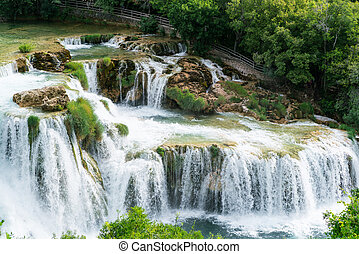 Waterfalls at Krka National Park in Croatia