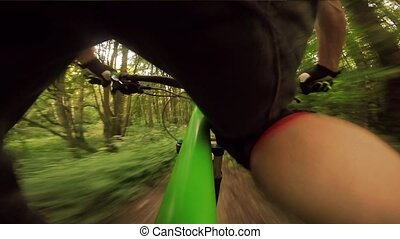 Mountain biking down hill. View from biker.