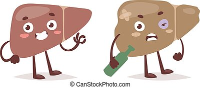 Alcohol harm vector illustration. - Alcoholic liver harm...