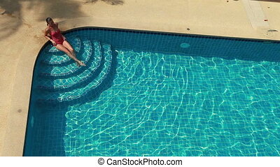 Woman And Swimming Pool - Woman Sitting At The Edge Of...