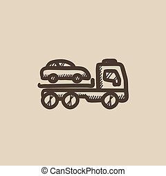 Car towing truck sketch icon - Car towing truck vector...