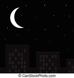 Month and the starry sky above the