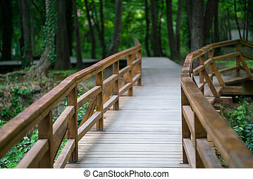 wooden bridge at Krka National Park, Croatia.
