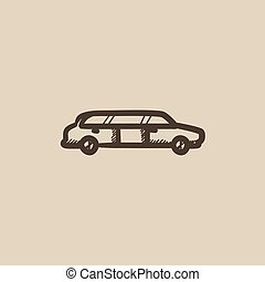 Wedding limousine sketch icon - Wedding limousine vector...