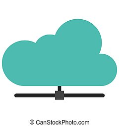 cloud attached to pipe icon - simple flat design cloud...