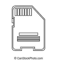 sd card icon - simple line design sd card icon vector...