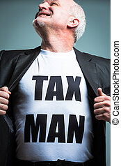 Man opening shirt with tax man text - Happy mature bearded...