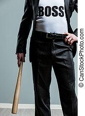 Business Boss concept holding a baseball bat - Business Boss...