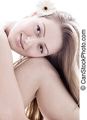 Soft skin - Young beauty woman in a relaxing mood
