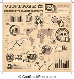 Vintage Business Infographic Elements