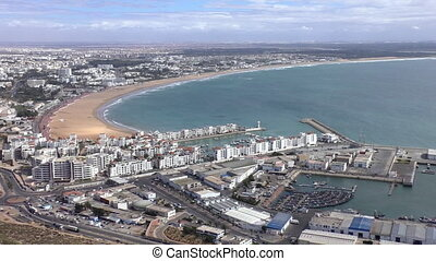 Agadir city seaside from hill top - Morocco, North Africa....
