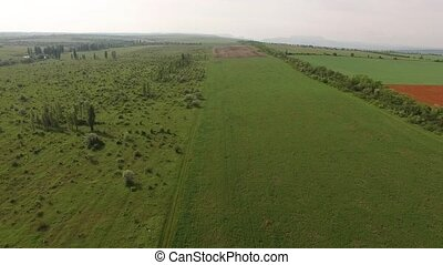 Green Agricultural Fields - AERIAL VIEW. Camera is slowly...