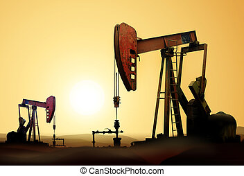 oil pumps - Working oil pump in deserted district at sunset