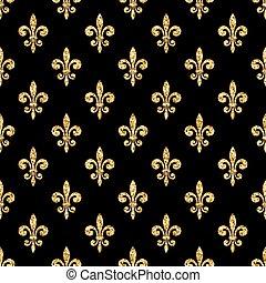 Golden fleur-de-lis seamless pattern black 1 - Golden...