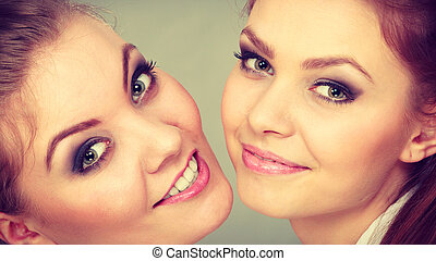 Lovely playful sisters women portrait - Family and relations...