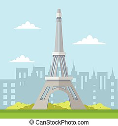 eifel tower tour and travel illustration design
