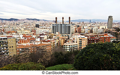 Barcelona, Spain - cityscape - Aerial view of the Harbor...