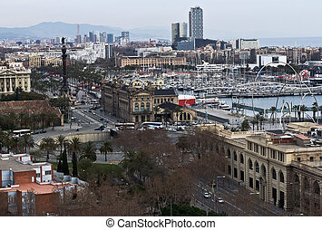 Barcelona, Spain - cityscape - :Aerial view of the Harbor...