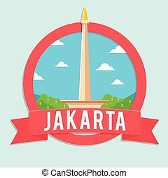 jakarta tour and travel illustration design