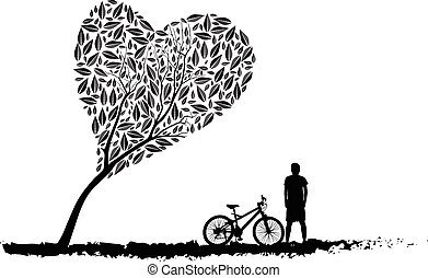 tree an bicycle over background vector illustration