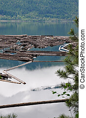 Log Boom Lake Shuswap, BC
