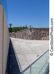 wall of historic fortress in european city