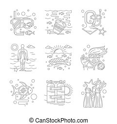 Undersea vacations of detailed line vector icons