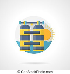 Leisure with aqualung color detailed vector icon
