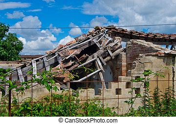 degraded building, the roof collapsed - roof collapsed and...